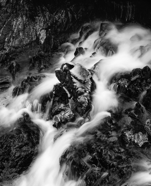 Falls on Petit Creek, Sawtooth Wilderness : monochrom : TIMOTHY FLOYD PHOTOGRAPHER, NATURE PHOTOGRAPHY, PHOTO ESSAYS, PHOTOJOURNALISM