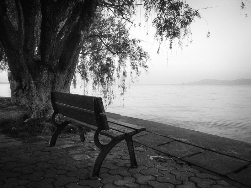 Bench, Dianchi Pool, Kunming, China : monochrom : TIMOTHY FLOYD PHOTOGRAPHER, NATURE PHOTOGRAPHY, PHOTO ESSAYS, PHOTOJOURNALISM